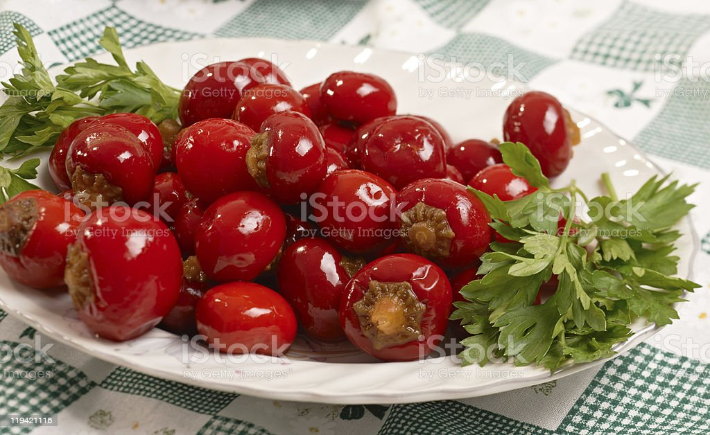 Pickled cherry pepperoni stock photo