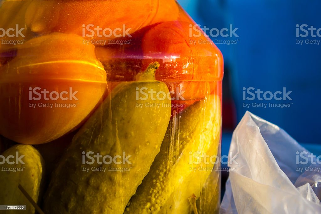 Pickled Cucmber and Tomato stock photo