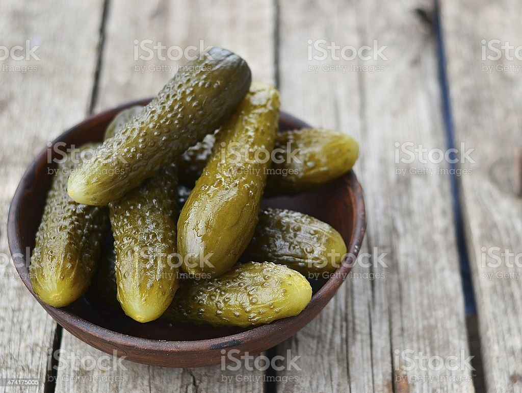 pickled cucumber, russian traditional appetizer stock photo