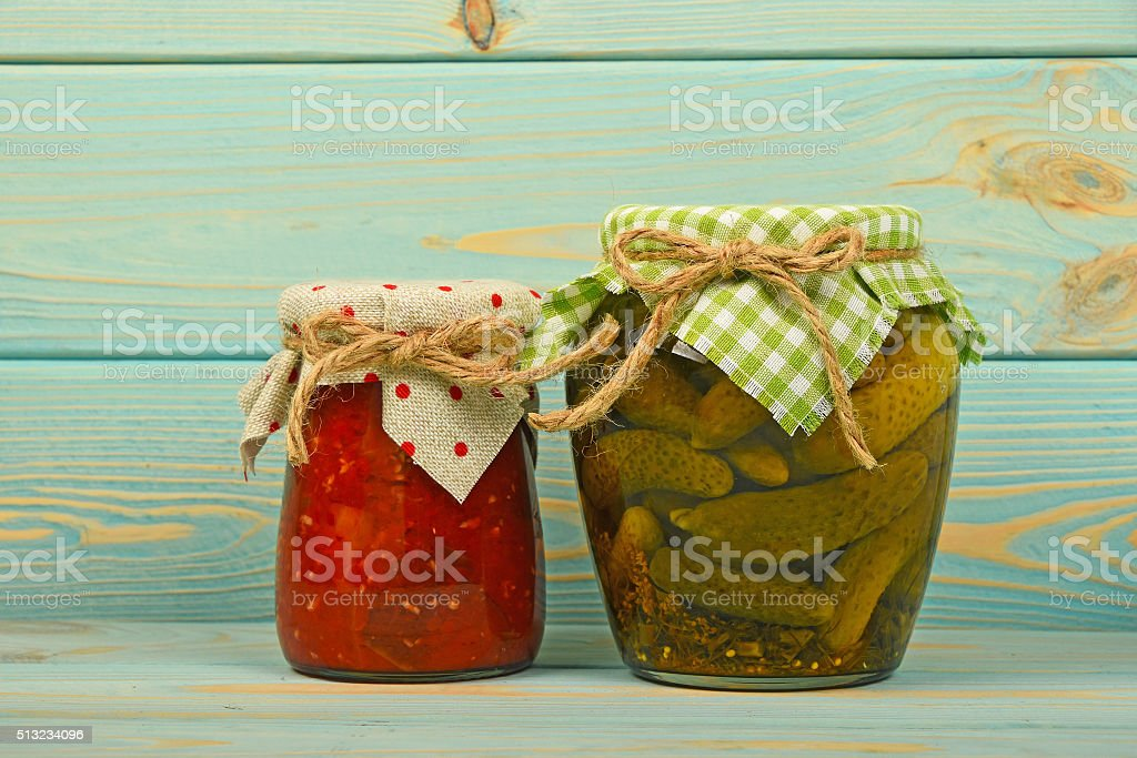 Pickled cucumbers and pepper salad over wood royalty-free stock photo