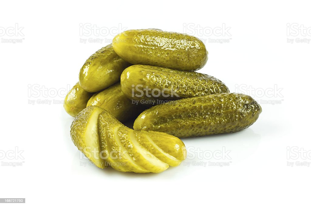 pickled cucumbers. Gherkins on a white background royalty-free stock photo
