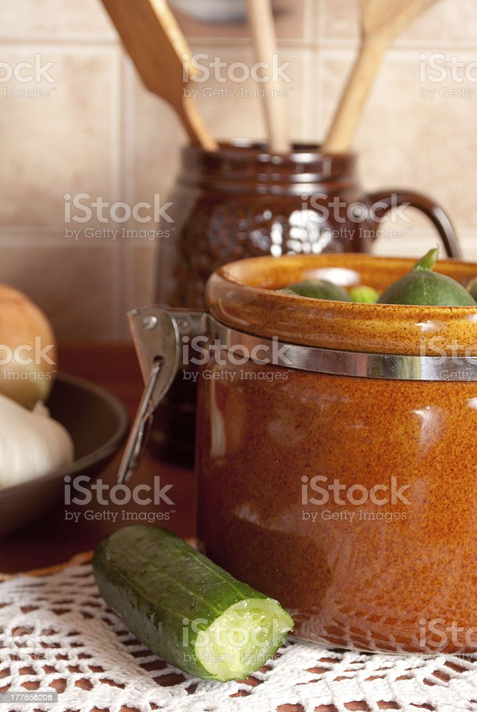Pickled cucumbers in a rural kitchen royalty-free stock photo