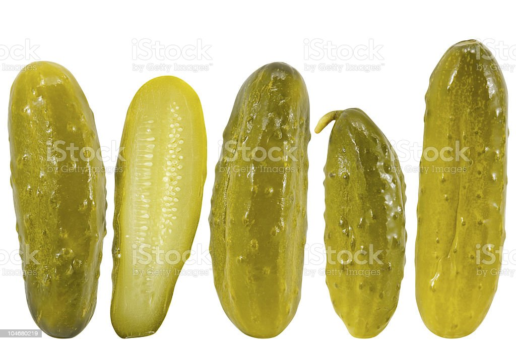 Pickled dill cucumbers stock photo