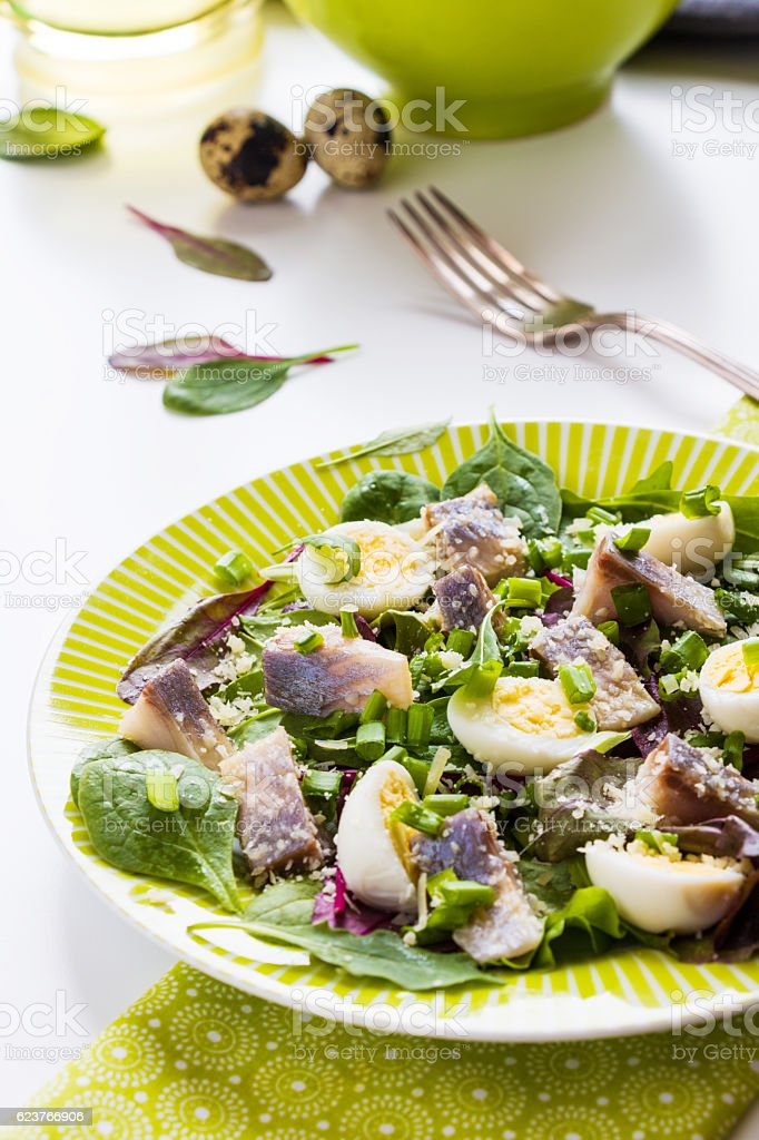 Pickled herring, mix of green salad, onion, boiled quail eggs stock photo