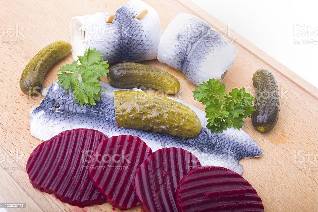 Pickled herring stock photo