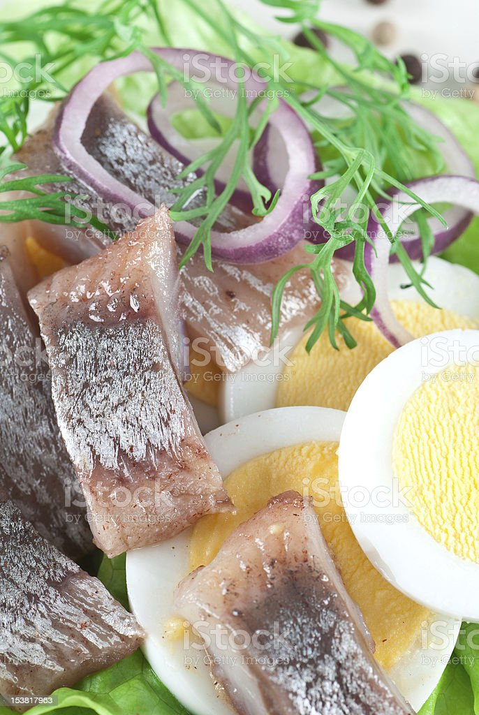 Pickled Herring With Egg stock photo