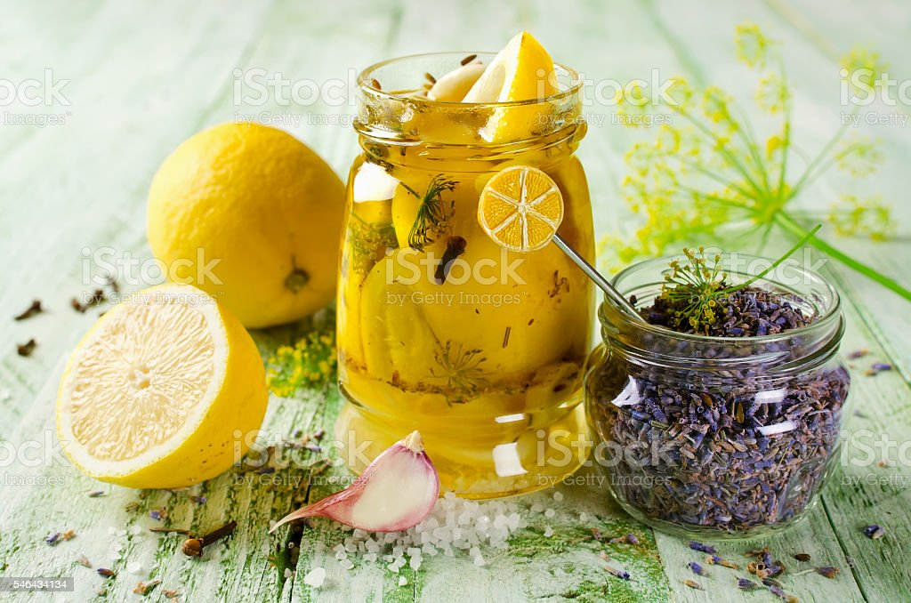 Pickled lemon with lavender stock photo