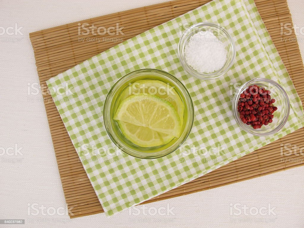 Pickled lemons in brine stock photo