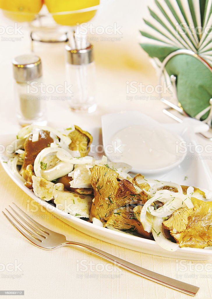 Pickled mushrooms on the dish royalty-free stock photo