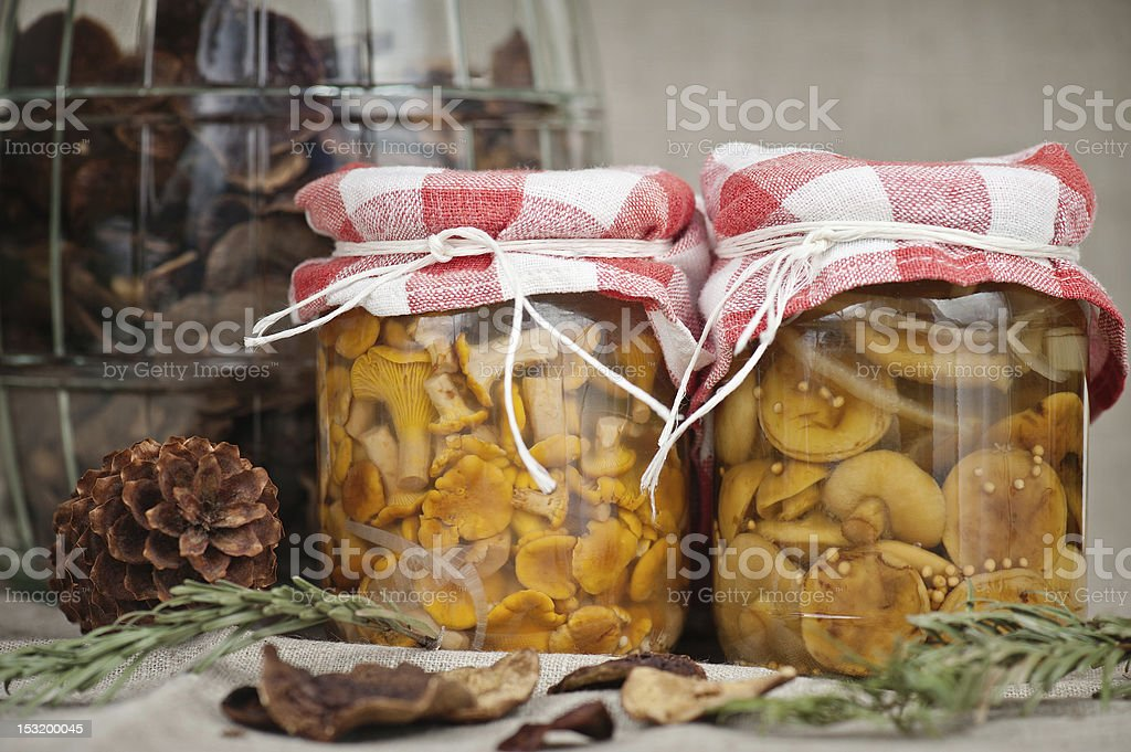 Pickled mushrooms royalty-free stock photo