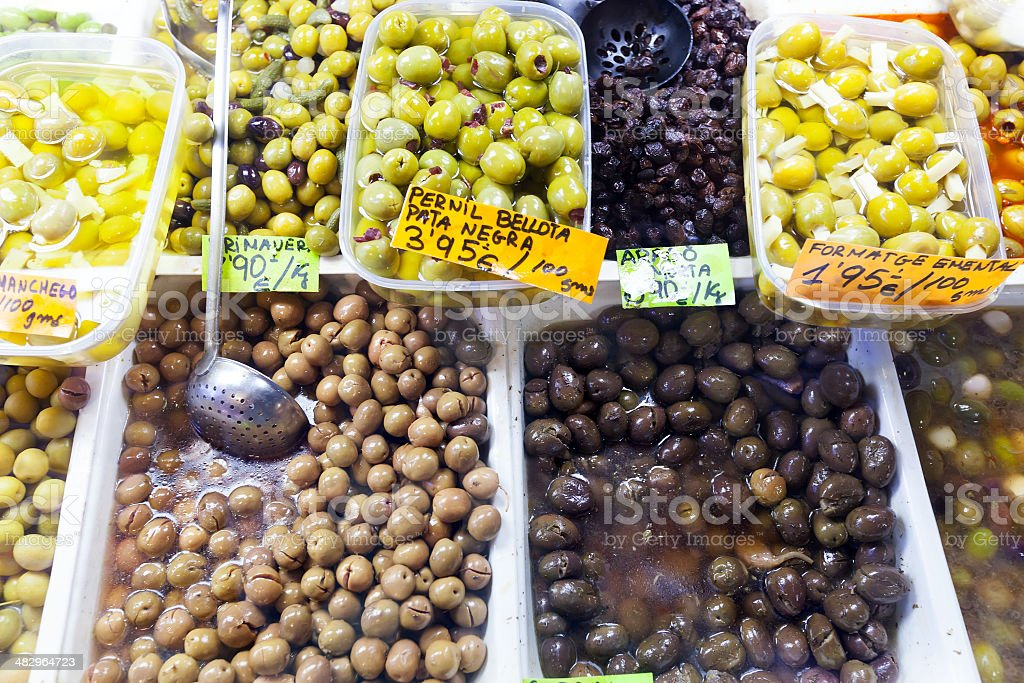 pickled olives  at Spanish market stock photo