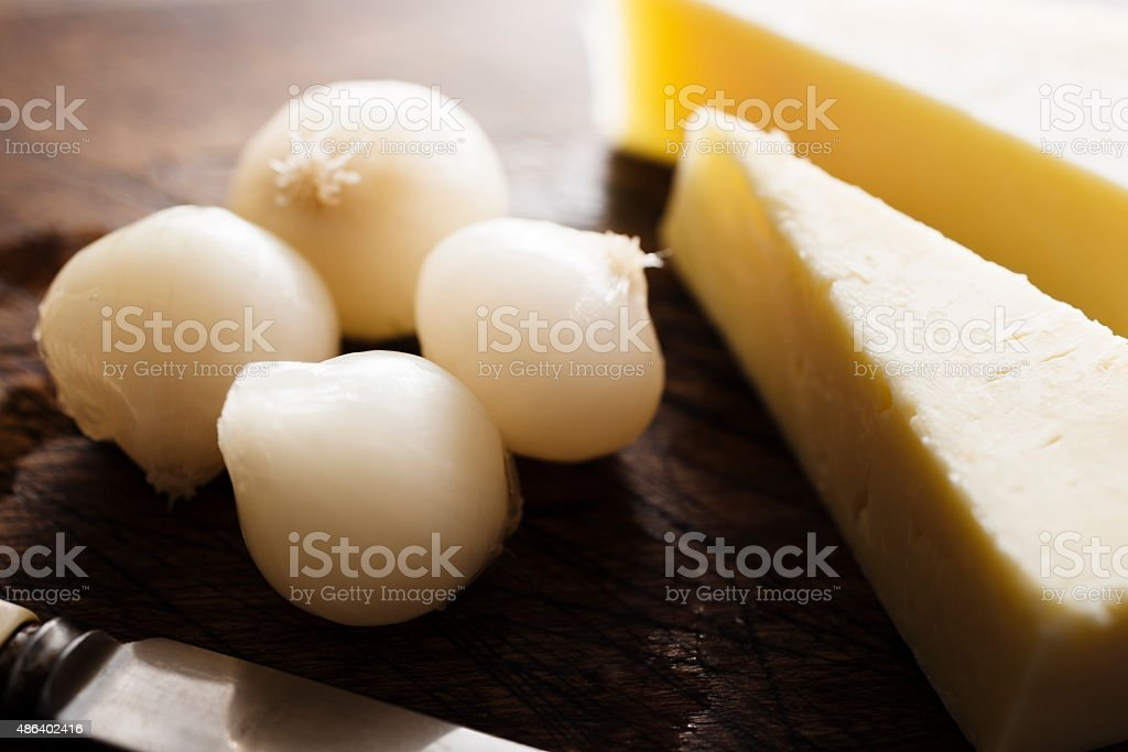 Pickled Onions and Cheese stock photo