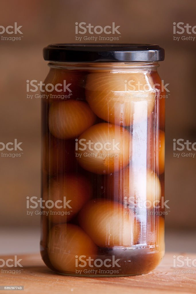 Pickled Onions in Glass Jar stock photo