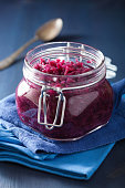 pickled red cabbage in glass jar