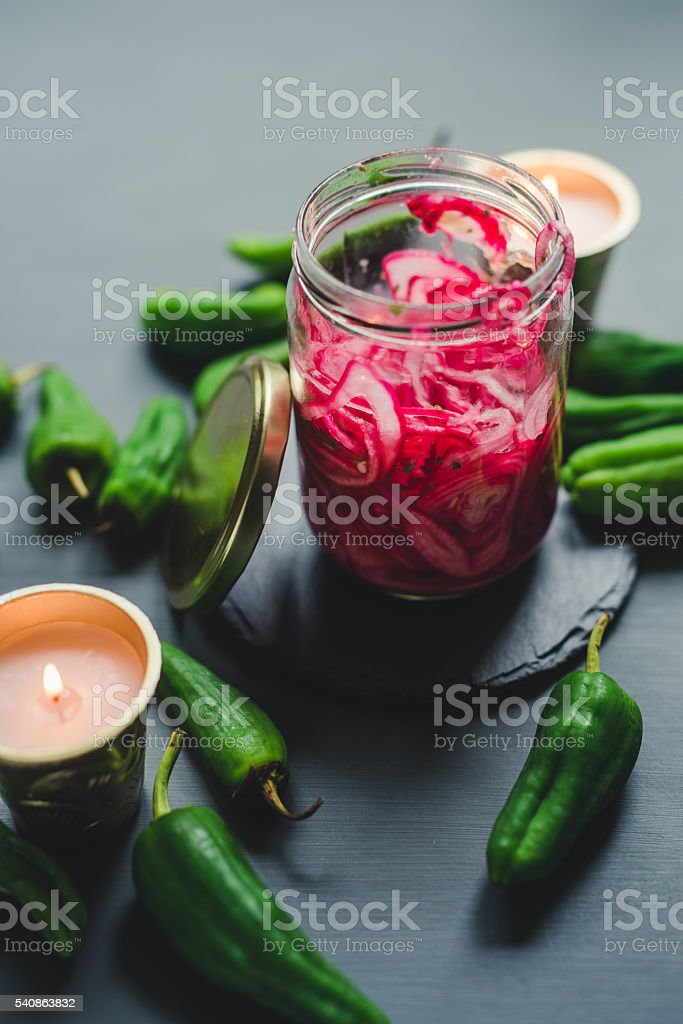 Pickled red onion food photography stock photo