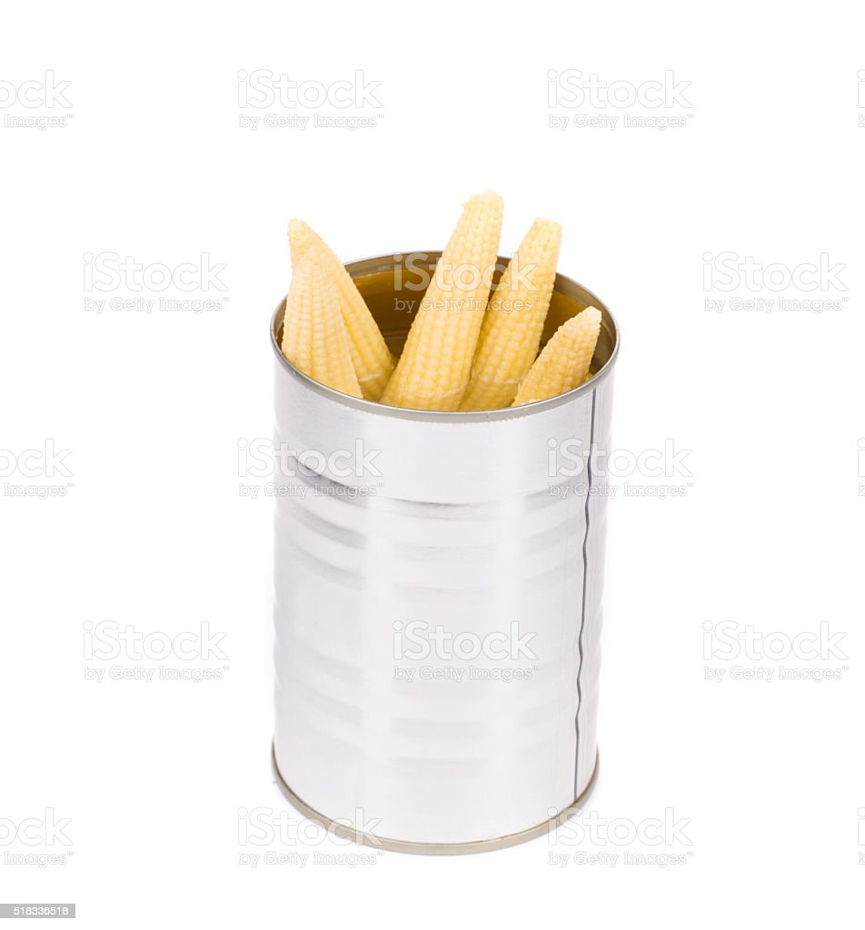 Pickled small corn in can. stock photo