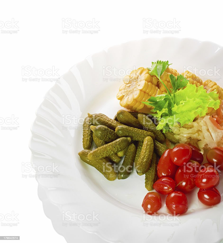 pickled vegetables of tomato, cucumber, cabbage isolated royalty-free stock photo