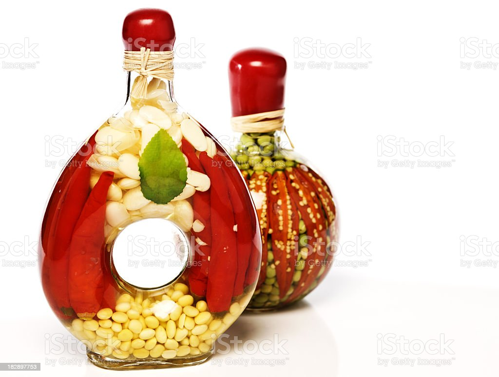 Pickles in decorative bottle. royalty-free stock photo