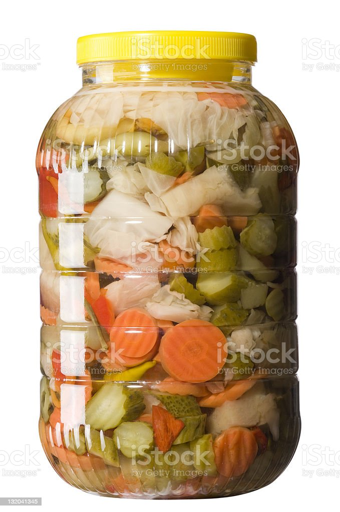 Pickles on a white backgroundMixed vegetable stock photo