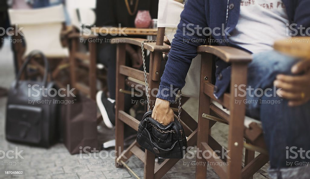 Pickpocketing at the street cafe stock photo