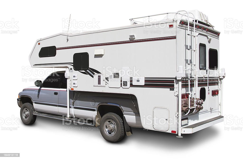 Pick-up Camper (with clipping path) royalty-free stock photo