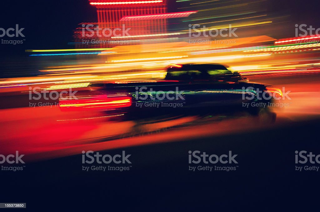 pick-up truck at night stock photo