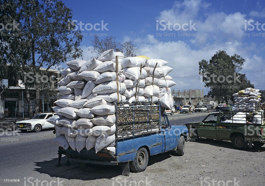 pickup truck with overload stock photo