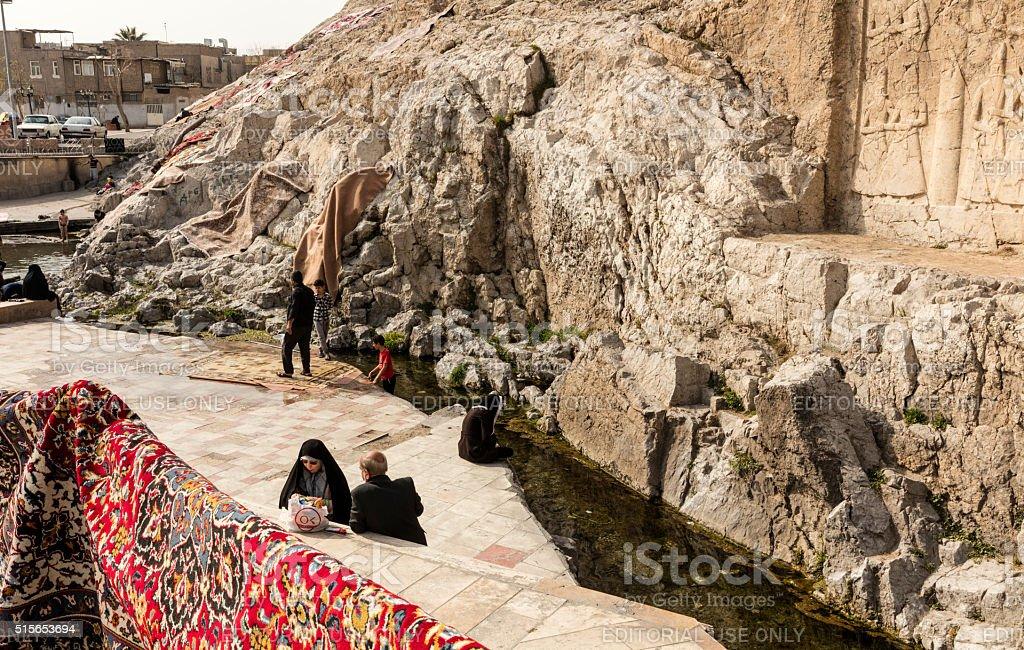Picnic and Carpet Washing at Cheshmeh Ali Spring, Tehran, Iran stock photo