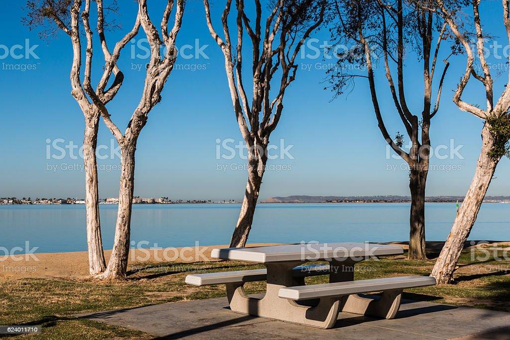 Picnic Area at Chula Vista Bayfront Park in San Diego stock photo