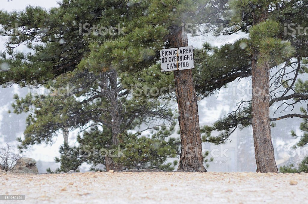 Picnic area no overnight camping sign royalty-free stock photo