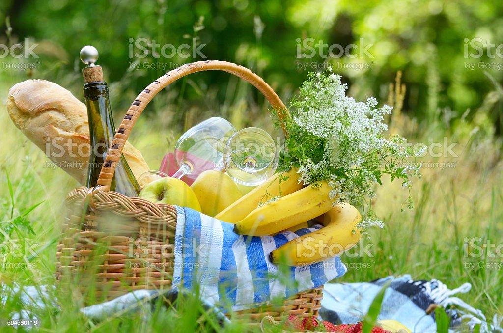 Picnic basket and strawberry stock photo