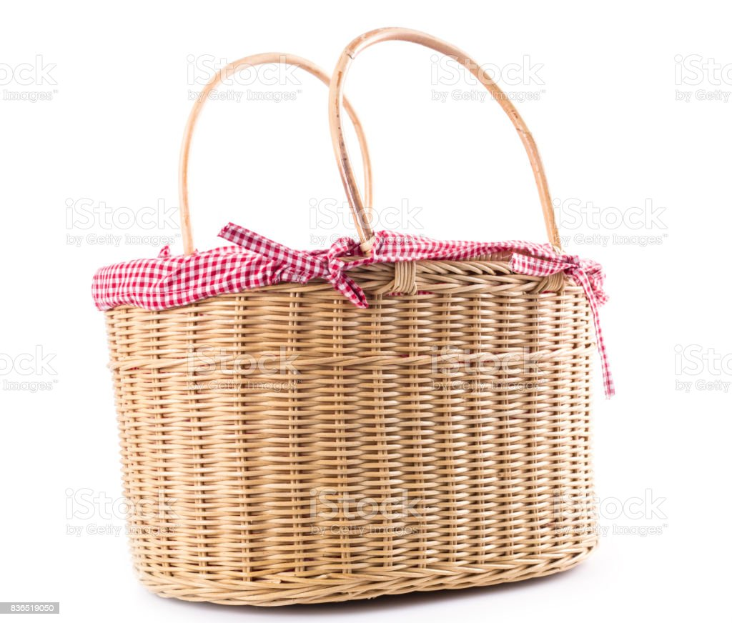 Picnic basket container bakery food stock photo