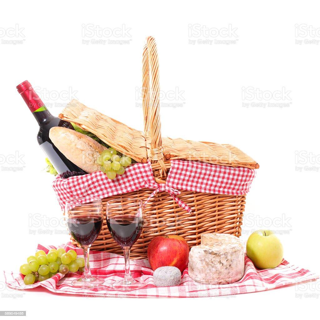 picnic basket isolated on white stock photo