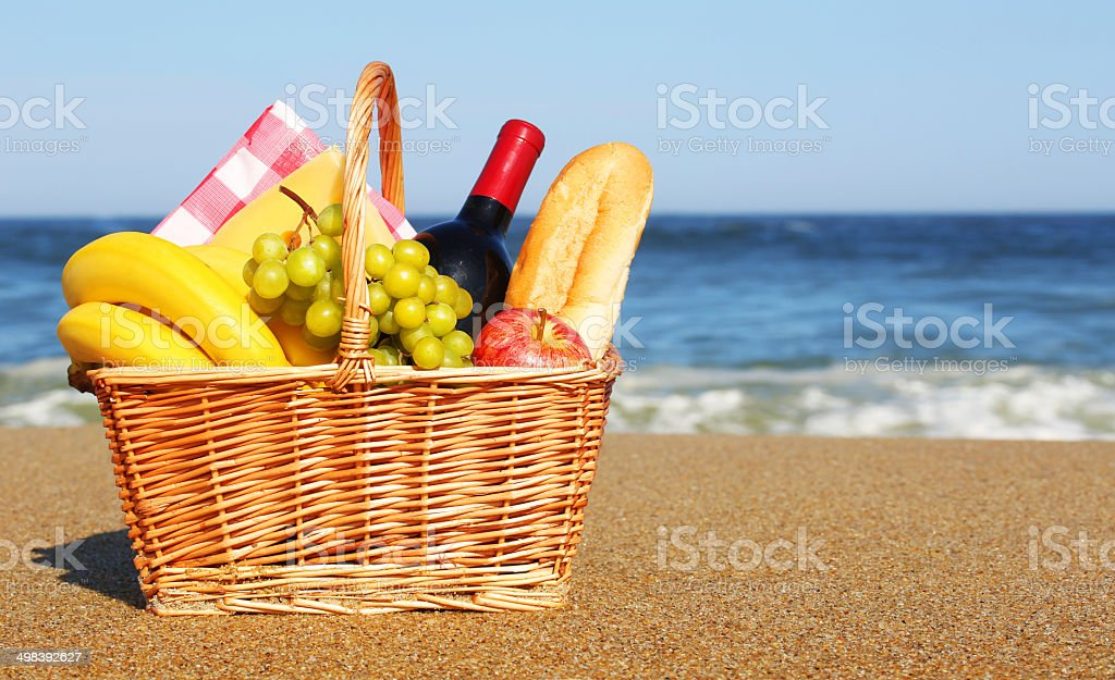 Picnic basket on the beach royalty-free stock photo