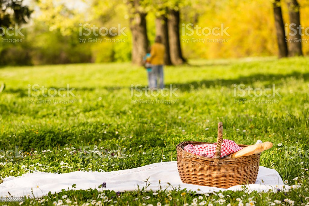 Picnic basket on the blanket, children playing in the background stock photo