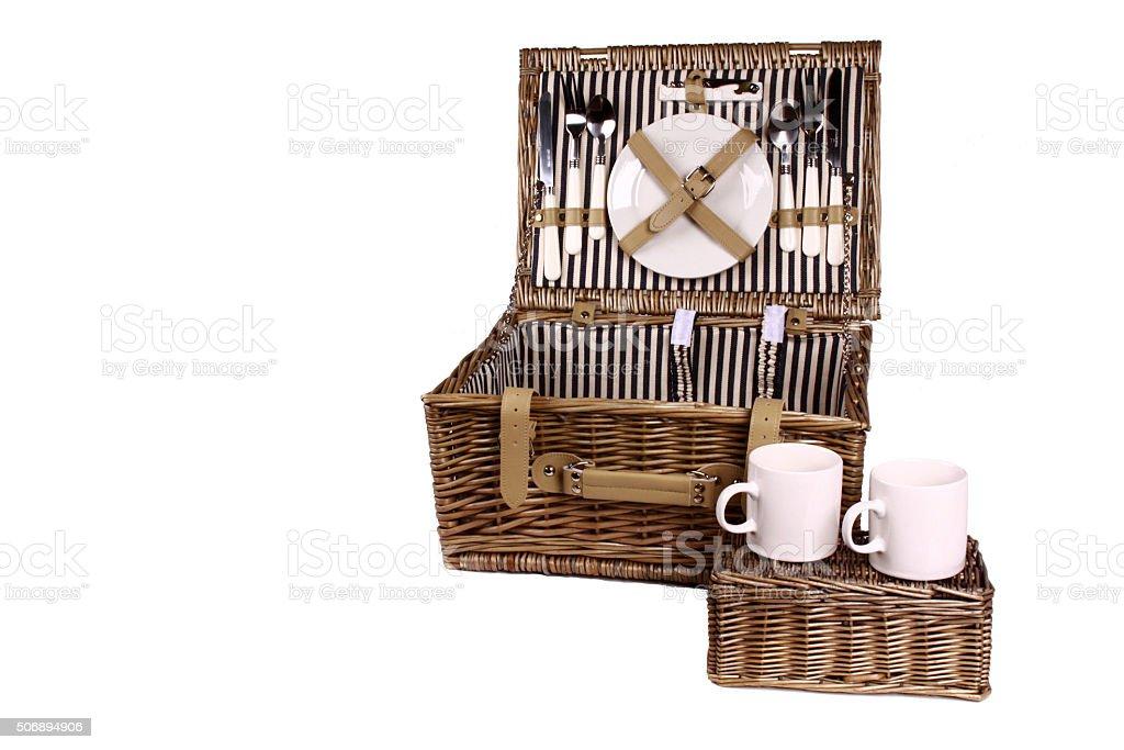 Picnic Basket On White Background stock photo