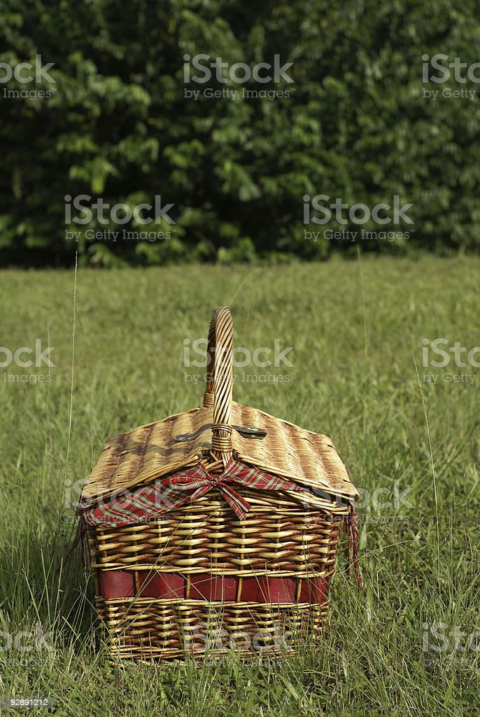 Picnic basket outdoors stock photo