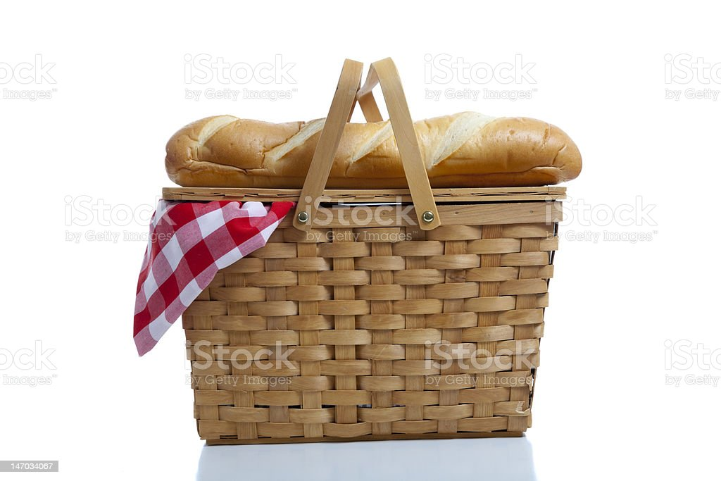 Picnic Basket with Gingham stock photo