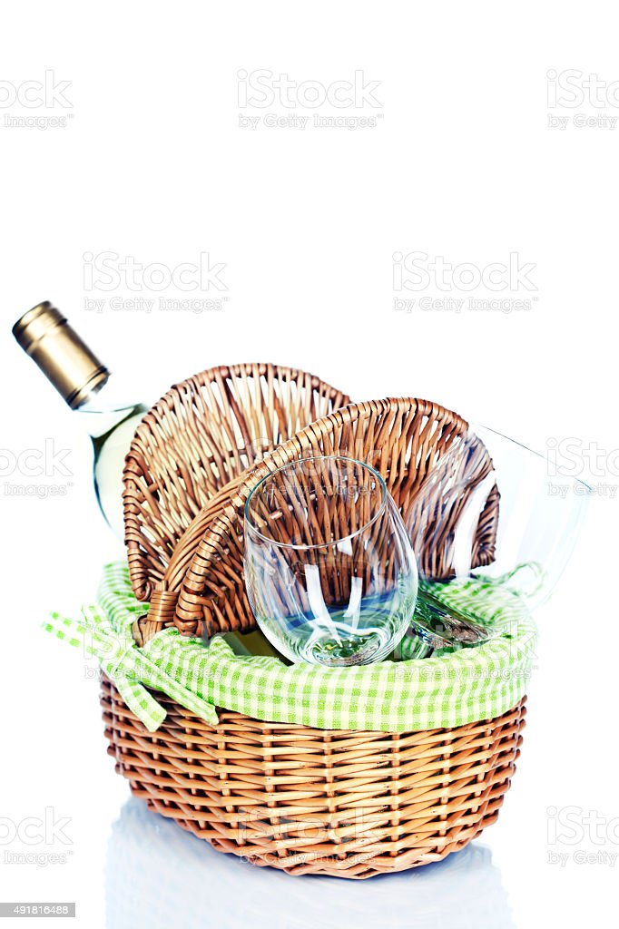 picnic basket with wine stock photo