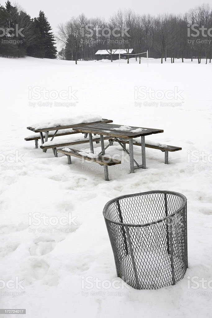 Picnic Bench In The Snow royalty-free stock photo