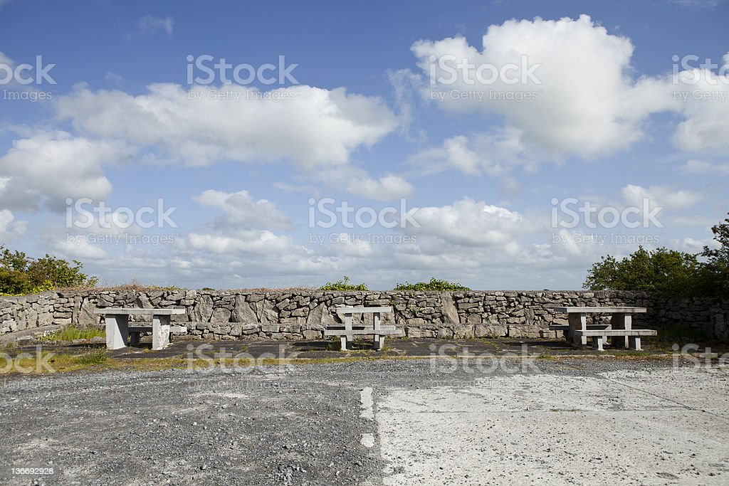 Picnic benches in The Burren, Ireland royalty-free stock photo