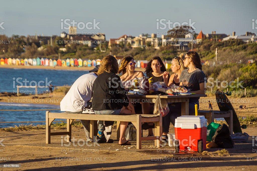 Picnic by Brighton Beach, Melbourne stock photo