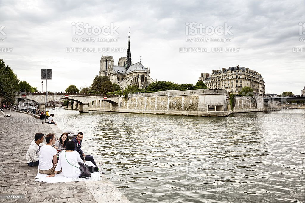 Picnic by the Seine River royalty-free stock photo