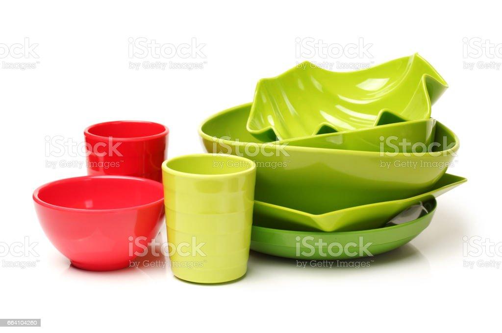 Picnic Dishware  isolated on white background stock photo