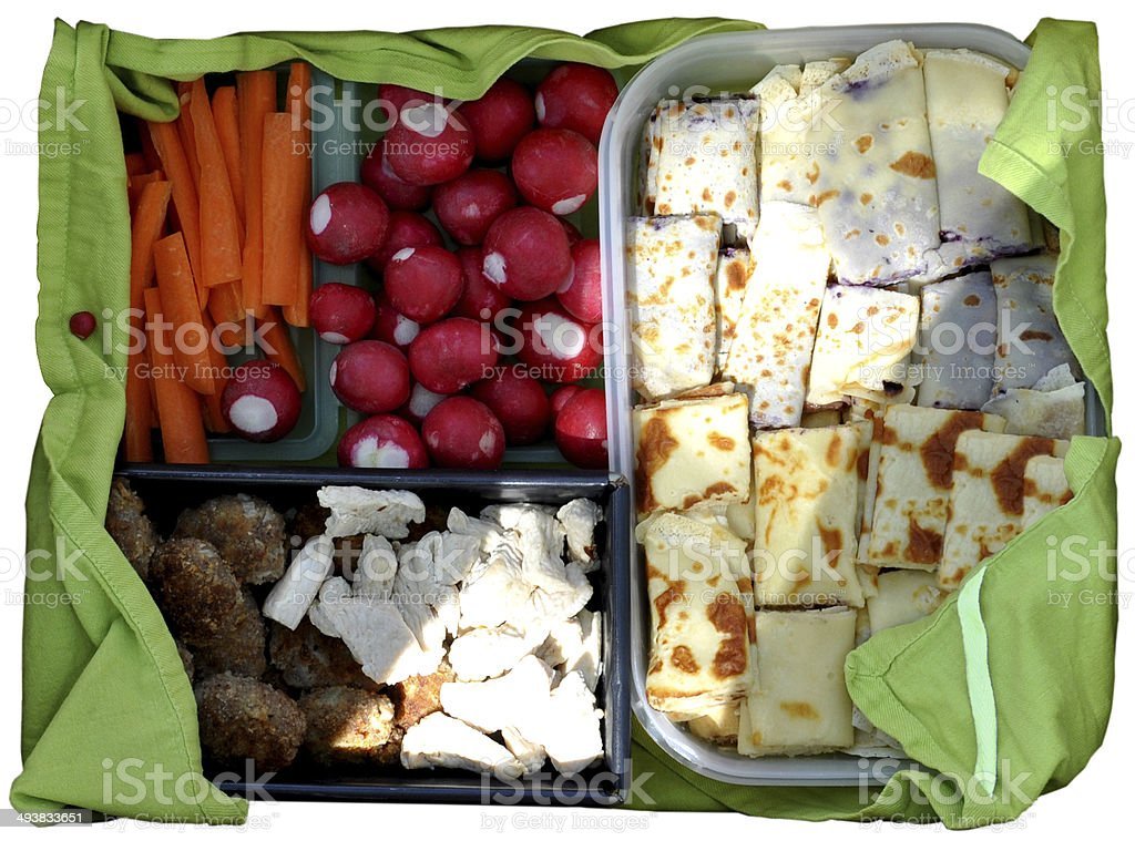 Picknick Essen 6 Sorten in gr?nem Tuch royalty-free stock photo