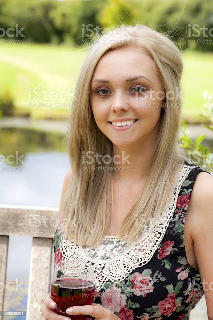 Picnic: Girl In A Summer Dress royalty-free stock photo