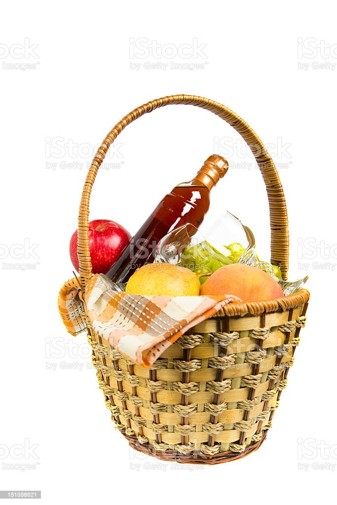 picnic hamper with fruits and wine royalty-free stock photo