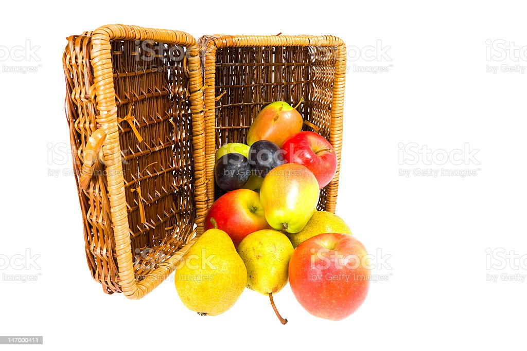 picnic hamper with fruits royalty-free stock photo