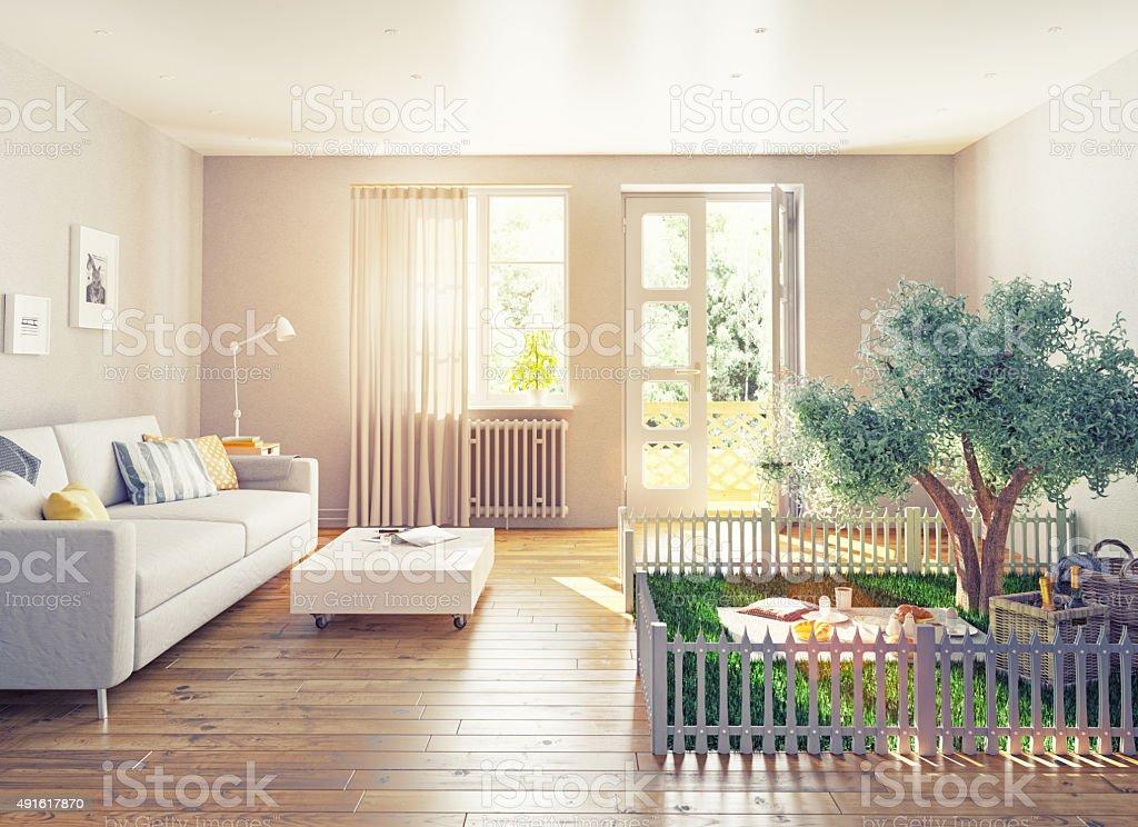 picnic in a home interior stock photo