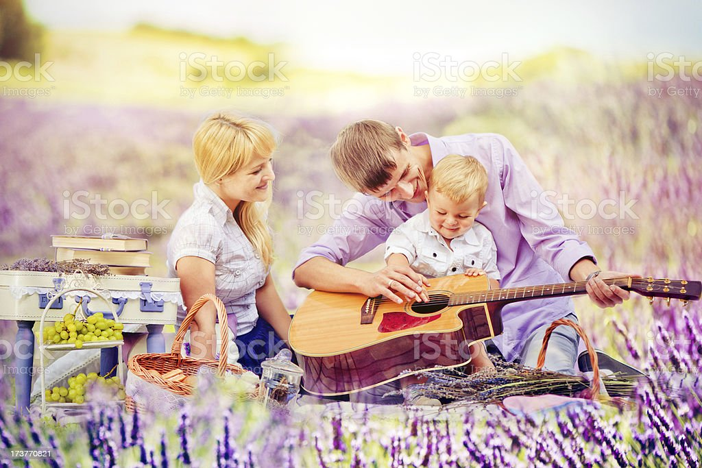Picnic in lavender fields royalty-free stock photo